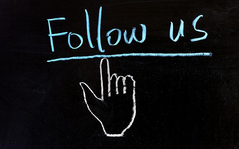 follow us Twitter chalkboard