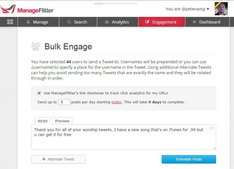 manageflitter bulk engage influencers
